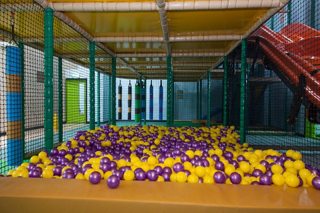 roar and explore purple and yellow ball pit