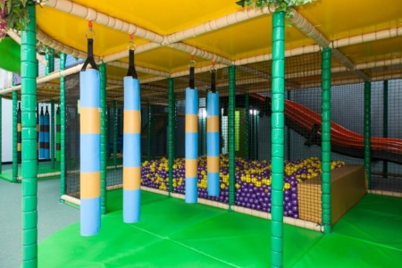 dangly snakes in roar and explore leading on to purple and yellow ball pit
