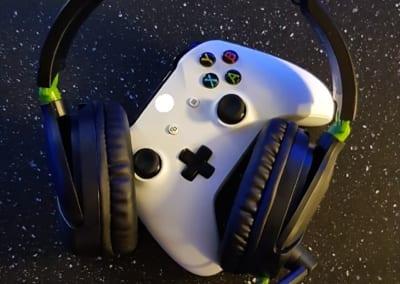 xbox controller and headphones